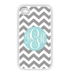 Pretty sure I NEED this! iPhone 4 Case chevron - iPhone 4 case monogram - Tiffany blue and gray iPhone 4s cover (iM3036)
