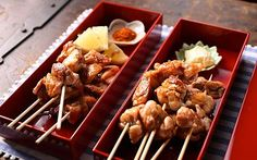 Yakitori: these little chicken skewers are a traditional Japanese snack.