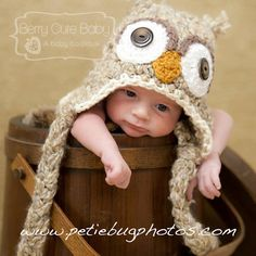 Whimsy Woodland Owl Beanie with braided tassels by BerryCuteBaby, $30.00