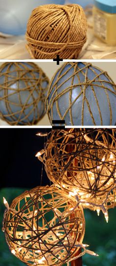 Laternendeko selber basteln aus Schnur und Luftballons Make your own lantern decoration out of twine Outdoor Christmas, Christmas Crafts, Christmas Lights, Handmade Christmas, Christmas Ornaments, Burlap Christmas Decorations, Christmas Ideas, Christmas Garden, Thanksgiving Crafts