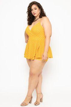 Plus Size Polka Dot Peplum Romper - Mustard - Curvy Sense Trendy Plus Size Clothing, Plus Size Fashion, Curvy Outfits, Plus Size Outfits, Erica Lauren, Plus Size Intimates, Full Figured Women, Girl With Curves, Curvy Girl Fashion