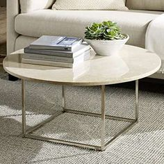 round marble-top coffee table