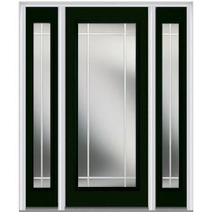 Milliken Millwork 64.5 in. x 81.75 in. Classic Clear Glass PIM Full Lite Painted Fiberglass Smooth Exterior Door with Sidelites, Hunter Green