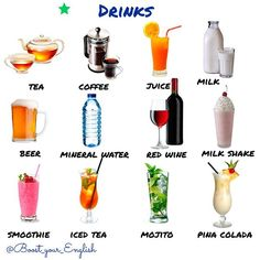 ✅ WHAT DRINKS do you like having in the #morning, in the #afternoon, in the #evening?  #tea, #coffee, #juice, #milk, #beer, #mineralwater,#redwine, #milkshake, #smoothie, #icedtea,#mojito, #pinacolada Here are the names of some drinks with the letters mixed up. What are they? 1 eta 2 rebe  3 klim 4 fecofe 5 rituf eciju 6 nilemar retaw #boost_vocabulary  #drinks