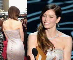 2014 #Oscars Jessica Biel dress hair makeup jewelry