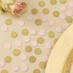 Gold Glitter And Pastel Pink Table Confetti