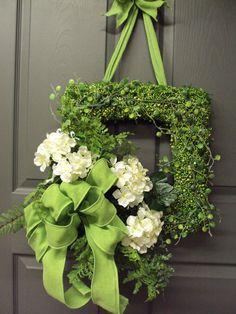 Items similar to Hydrangea Wreath, Summer Wreath, Front Door Wreath, Square Wreath. Bridal Wreath, Wedding Wreath, Green Burlap Bow on Etsy