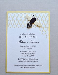 Bride to bee shower invitation  Honeycomb bee hive by imeondesign, $40.00