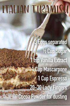 Italian Tiramisu, Italian Desserts, Italian Recipes, Traditional Tiramisu Recipe, How To Make Tiramisu, Drink Recipes, Dessert Recipes, Tiramisu Cheesecake, Mascarpone Cheese