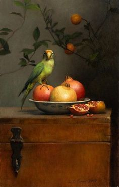 Still Life Brushstroke. Nature Morte Painting by Ann Long. Still life with Parrot and Pomegranates. Oil on linen. Painting Still Life, Still Life Art, Still Life Photography, Art Photography, Art Gallery, Illustration Art, Illustrations, Bird Art, Oeuvre D'art