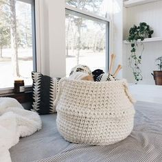 """Dropping into your Wednesday with a NEW pattern, my crochet version of the belly basket. I love the idea of scattering these around the house both tiny and big enough to hold all of those (endless) projects ✔️ Peep my shop for the """"Selawik basket pattern"""" Bean Bag Pattern, Diy Crochet Patterns, Belly Basket, Crochet Decoration, Craft Storage, Plant Decor, Fiber Art, Bean Bag Chair, Knit Crochet"""
