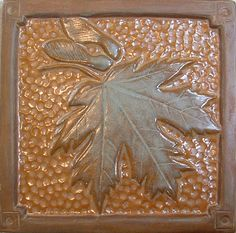 Handmade 6 Maple Leaf  deco Tile with Ocher and by FayJonesDayTile, $35.00