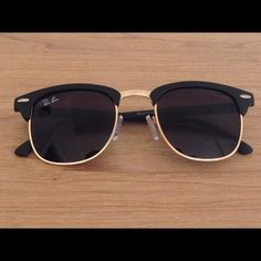 Rayban Matte Black Gold Clubmaster Sunglasses New ray bans, no scratches. Doesnt come with a case. Good quality. Retail return. Ray-Ban Accessories Sunglasses