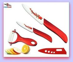 Red Ceramic Knives fruit sets