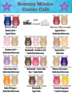 Scent Mixers with the Corner Cafe collection from the Spring/Summer Catalog 2017!! Some great Scentsy Ideas!!