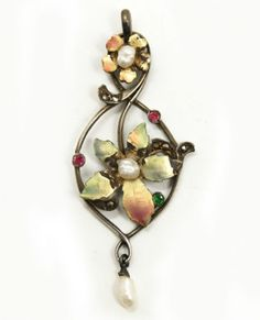 c1900 Art Nouveau Silver Iridescent Enamel Seed Pearl Ornate Necklace Pendant Joseph DIZY