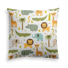 Decorative Throw Pillow HAPPY ZOO - Funny Animal Pillow Print, Kids Pillow, Nursery Pillow, Contemporary Modern Home Decor, Pillow Cover Kids Pillows, Animal Pillows, Funniest Animals, Funny Animals, Happy Zoo, Giraffes, Elephants, Power Nap, Crocodiles