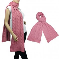 Classic Cable Stitch Acrylic Knit Thick Long Scarf