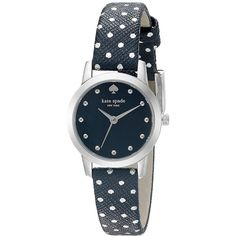 Kate Spade New York Mini Metro ($175) ❤ liked on Polyvore featuring jewelry, watches, blue, dial watches, water resistant watches, dot jewelry, blue dot jewelry and stainless steel wrist watch