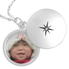Photo necklace with the baby's name