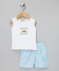 Love this Turquoise & White Fish Tank & Shorts - Infant on #zulily! #zulilyfinds