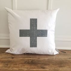 Distressed Swiss Cross Pillow Cover (Charcoal)