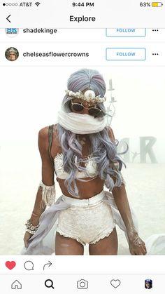 White festival look #mermaid #crown                                                                                                                                                                                 More
