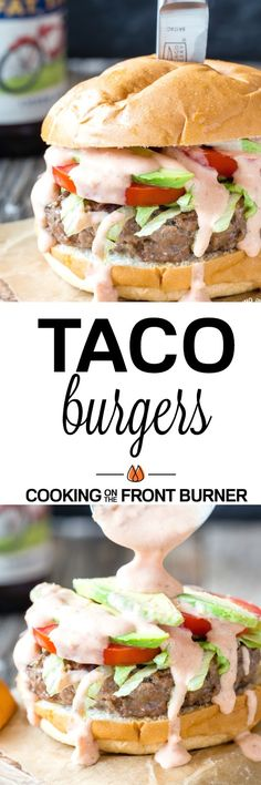 Fire up the grill and cook these Taco Burgers that are loaded with your favorite Mexican flavors. These are sure to be a hit this summer! Taco Burger, Beef Burgers, Veggie Burgers, Grilling Recipes, Beef Recipes, Cooking Recipes, Hamburger Recipes, Barbecue Recipes, Cooking Tips