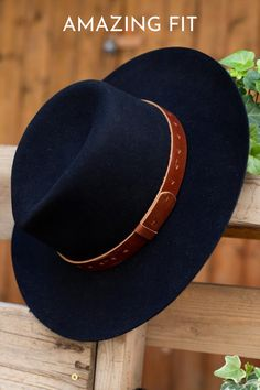 The Dakota by Wyeth features a whiskey colored genuine leather band with a hand cut design. #hats #blackhat #hatsforwomen