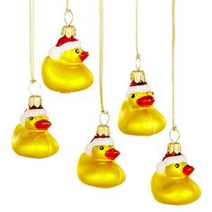 Mini Blown Glass Rubber Duck Santa  Christmas Ornaments, Set of 5  $14.99  ...More santa duckies!