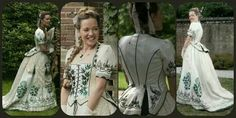 1873 Victorian beetle wing embroidered gown reproduction by Angela Mombers