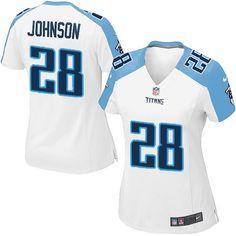 Womens Nike Tennessee Titans #28 Chris Johnson Elite White Jersey$109.99
