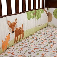 Transform your nursery into a forest full of animal friends with the Woodland Tales Bedding Collection from Lambs & Ivy. This 4-Piece Crib Bumper has fabric ties that hold it securely in place, and features forest scenes and woodsy brown trim.