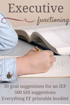 Here are 30 goal suggestions to add Executive Functioning into your child's IEP. Also includes a free printable EF booklet and over 500 SDIs for you to have more direction in giving feedback for your child's IEP. Speech Pathology, Speech Language Therapy, Speech And Language, Speech Therapy, Language Arts, School Ot, School Social Work, School Stuff, School Ideas