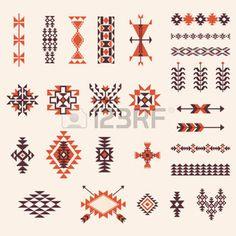 native american art: Native american navajo aztec pattern vector elemets design set