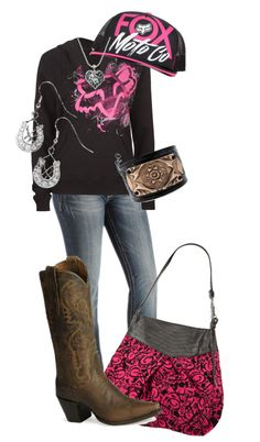 """Fox racing"" by countrygirl99 ❤ not fan of purse or the boots"