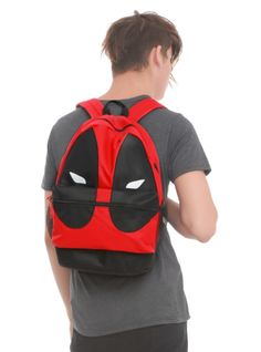 Deadpool mask design backpack with padded shoulder straps, fully padded back panel, side mesh pockets and web haul loop.