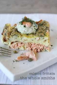 Easy Salmon Frittata from the Whole Smiths. Great for any brunch or breakfast and reheats perfectly! Paleo friendly, Whole30 compliant and gluten-free.