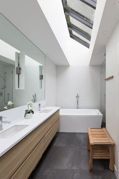 White, Wood and Gray Bathroom // The Tempe Residence by Kevin Vallely
