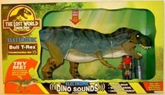 JP Toys -  Note to self: check out this site to see the value of toys, maybe?  Tyrannosaurus Rex (Bull)  Action feature: Press and hold on back for 3 realistic dinosaur sounds! Bull T-rex gulps down Dino-Trackers Survival Pod! Click here to hear it roar!  Value: MIP: $250 - $350 Loose: $50 - $60 Retail: $29.99 All time High: $465 Rarity: