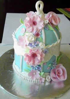 Mini Birdcage Cake - Shabby chic mini birdcage cake. Choc mudcake with choc buttercream filling.Not my design-saw something similar on pinterest.Approx 7inches high.