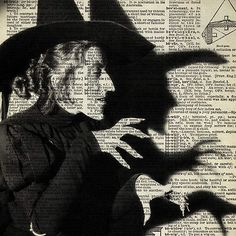WICKED WITCH Wizard OZ Dictionary Art Print Antique Book Page HaLLoWeeN 5x7