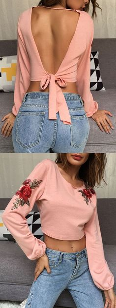 Up to 68% OFF! Open Back Embroidery Crop Top. Zaful,zaful.com,zaful fashion,tops,womens tops,outerwear,sweatshirts,hoodies,hoodies outfit,hoodies for teens,sweatshirts outfit,long sleeve tops,sweatshirts for teens,winter outfits,fall outfits,tops,sweatshirts for women,women's hoodies,womens sweatshirts,cute sweatshirts,floral hoodie,crop hoodies,oversized sweatshirt, halloween costumes,halloween,halloween outfits,halloween tops,halloween costume ideas. @zaful Extra 10% OFF Code:ZF2017