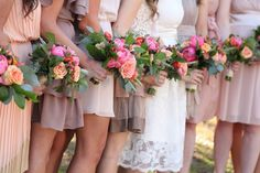 Mismatched Bridesmaid Dresses in Neutral Colors Aqua Bridesmaids, Mismatched Bridesmaid Dresses, Bridesmaid Bouquet, Wedding Bridesmaids, Wedding Dresses, Bridal Bouquets, Our Wedding Day, Wedding Tips, Fall Wedding