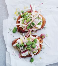 Endive & Fava Salad Tartines with Herbed Ricotta