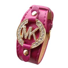 Michael Kors Leather Logo Fuchsia Accessories Outlet