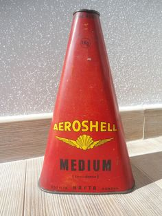 Ancien Bidon Huile 1930 AeroShell Shell Triangular Can Tin Oldose Oel Dose Rouge