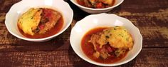 """Chicken and Cornmeal Dumplings in Tomatoes (Legendary Dishes) - Carla Hall, """"The Chew"""" on ABC. The Chew Recipes, Great Recipes, Cooking Recipes, Favorite Recipes, Healthy Recipes, Chef Recipes, Entree Recipes, Soup Recipes, Chicken Recipes"""