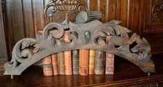 Antique Large French Carved Oak Arched Pediment Mount Ornate Scrolled Wood Hardware Repurpose by VintageFleaFinds on Etsy