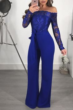 Sexy Elegant Off Shoulder Floral Embroidery Lace Jumpsuit Women Sheer Long Sleeve Fitted Romper Wide Leg Pants Macacao Feminino Floral Romper Long Sleeve, Lace Jumpsuit, Wrap Jumpsuit, Bodycon Jumpsuit, Strapless Jumpsuit, Elegant Jumpsuit, Jumpsuit Outfit, Blue Jumpsuits, Romper Outfit
